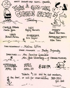 Flyer for Amity High School's 1977 You're A Good Man, Charlie Brown