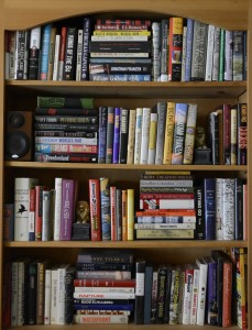 Some of my fiction books, imperfectly organized