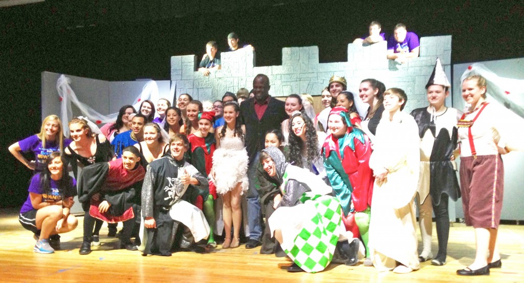The Shenandoah Valley High School cast of Spamalot with the visiting ambassador of Nigeria.