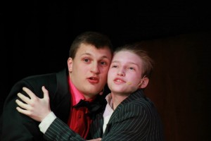 Angelo Maskornick as Roger De Bris and Eric Rooney as Carmen Ghia in Shenandoah Valley High School's The Producers.