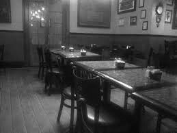 empty restaurant b&w