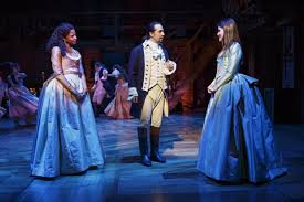Renee Elise Goldsberyy, Lin-Manuel Miranda and Philippa Soo in Hamilton (Photo by Joan Marcus)