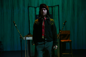 Ari Fliakos in Wooster Group's production of Pinter's The Room (photo by Paula Court)